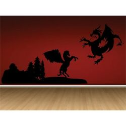 Dragon and Pegasus Final Battle Wall Decal -Great for walls of your home.