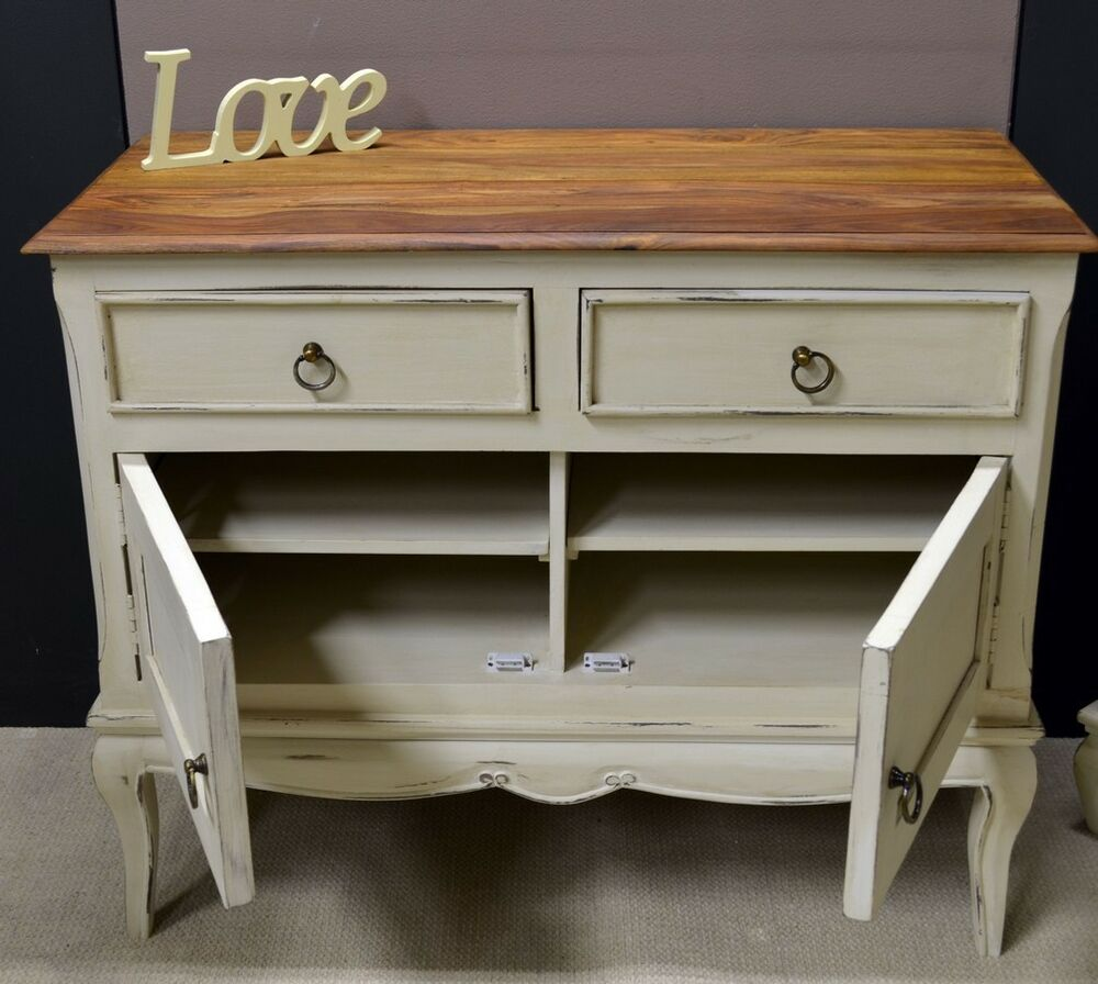 lille cream painted shabby chic solid mango 2 door 2 drawer sideboard ebay. Black Bedroom Furniture Sets. Home Design Ideas
