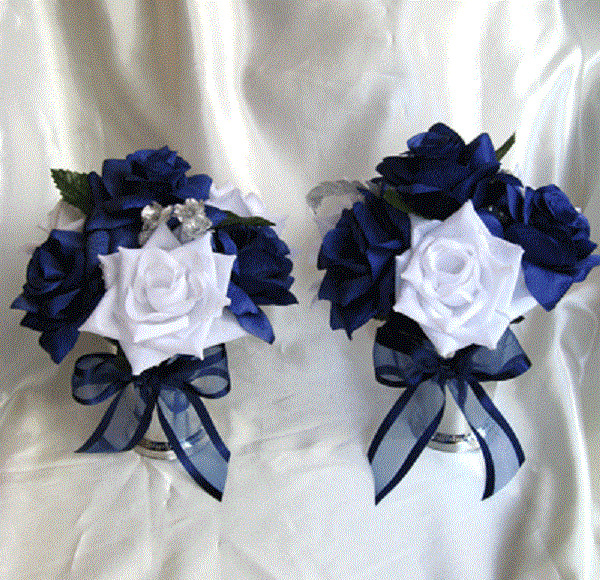 Navy Blue And Silver Wedding Ideas: Lot 6 Centerpiece Wedding Table Flowers VASE Bouquet