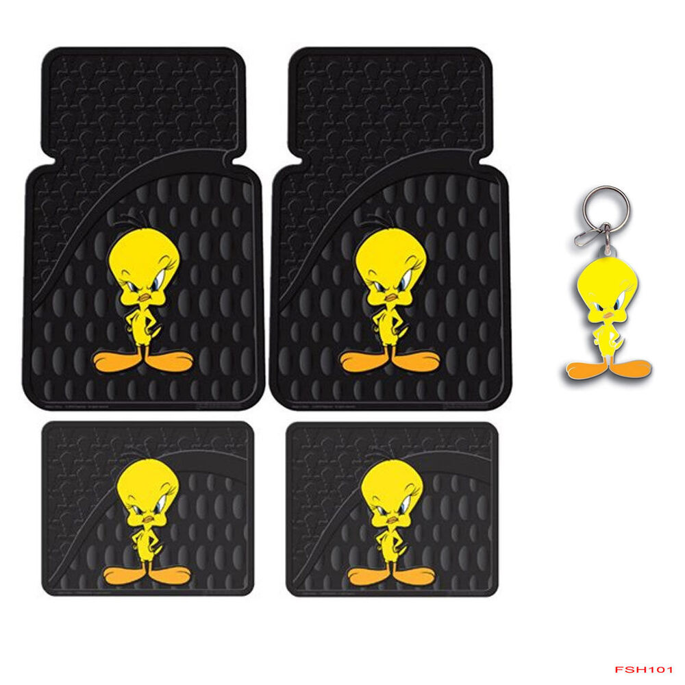 new looney tunes tweety bird car truck suv front rear back rubber floor mats ebay. Black Bedroom Furniture Sets. Home Design Ideas
