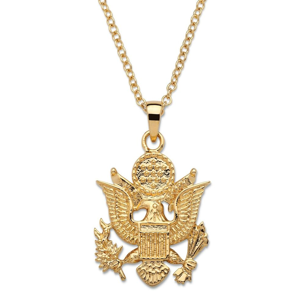 army 14k gold ega pendant gp necklace with 20 chain ebay. Black Bedroom Furniture Sets. Home Design Ideas