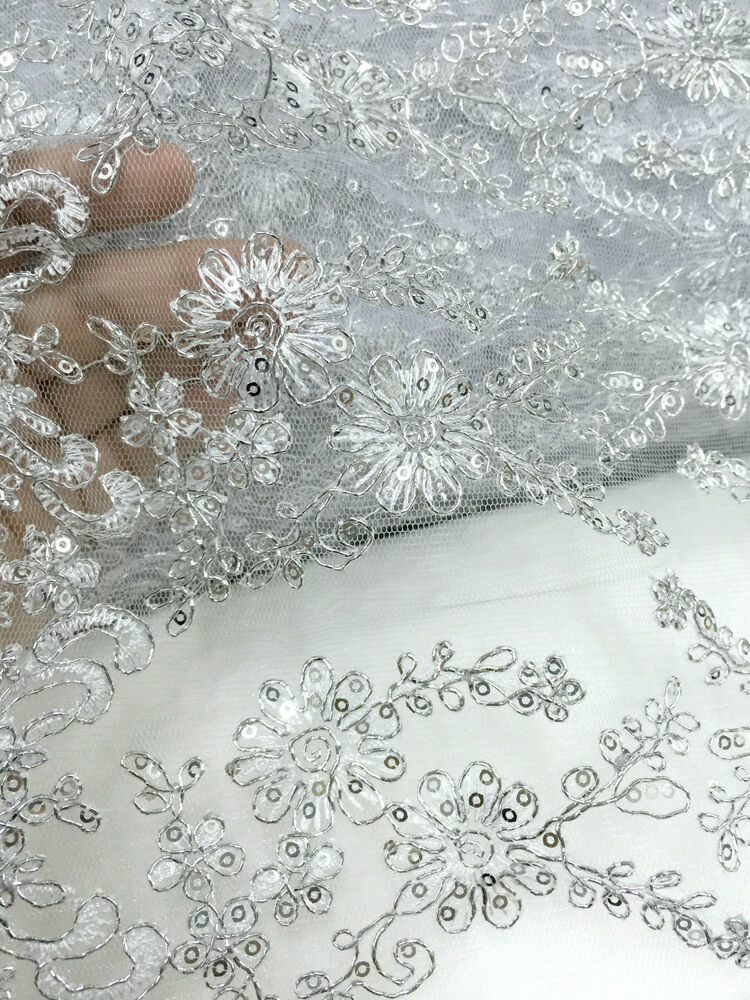 Silver floral embroidered mesh fabric quot w bty for