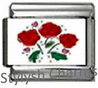 RED ROSES BUNCH OF Photo Italian Charm 9mm Link- 1x LV098 Single Bracelet Link