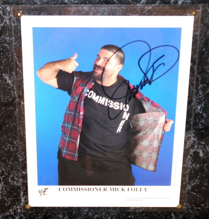 wwe mick foley autograph 8x10 photo framed signature wrestling wwf wwe mankind ebay