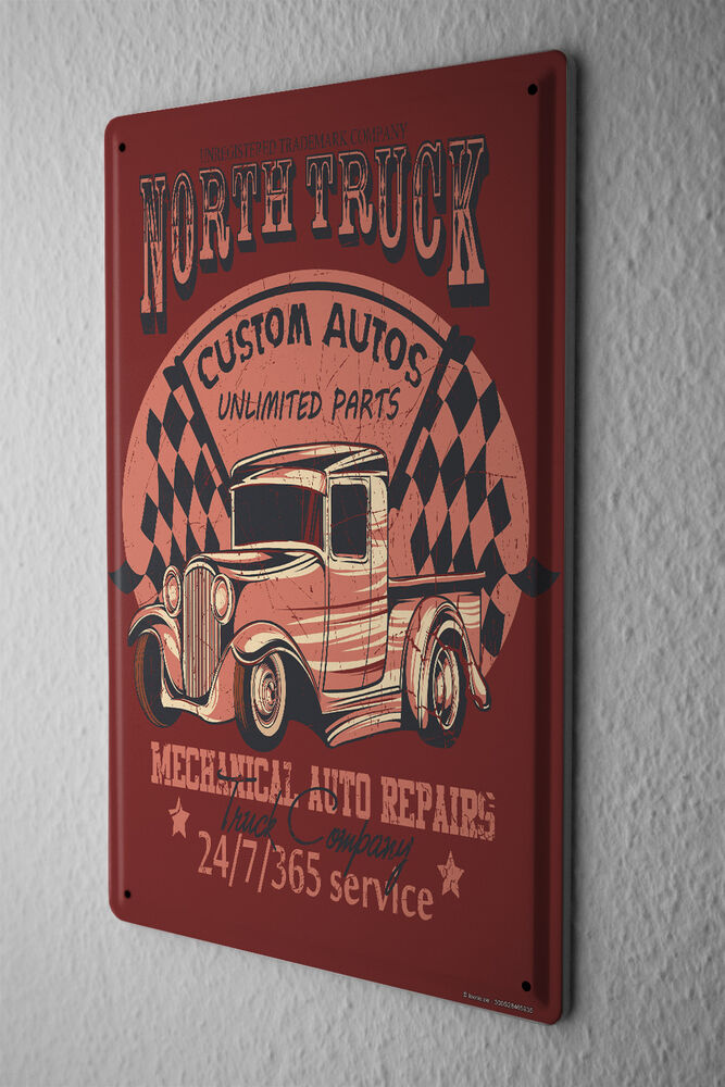 Vintage Tin Sign Automotive : Tin sign nostalgic car retro north truck vintage ebay