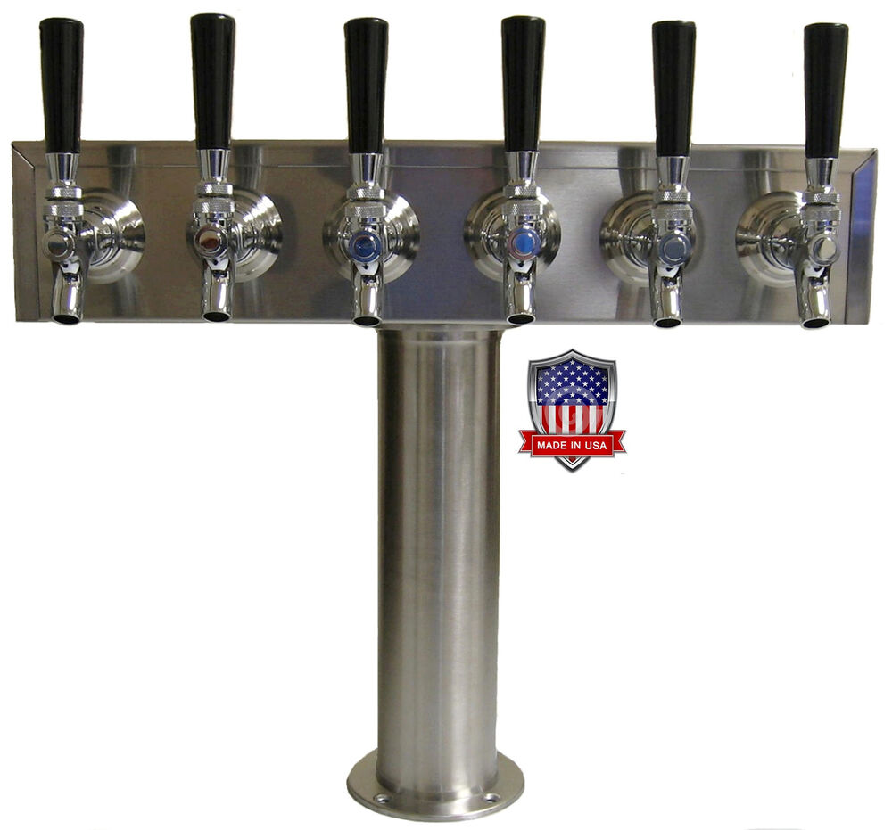 Stainless Steel Draft Beer Tower Made In Usa 6 Faucets