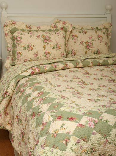 Queen Quilt Set Bliss Tea Rose And Lilac French Cottage