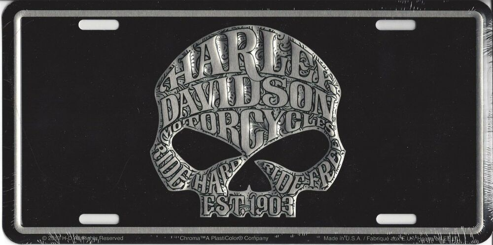 Harley Davidson Willie G Skull Embossed Metal Vanity Car License Plate Auto Tag Ebay