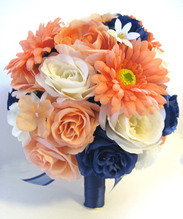 17 piece Wedding Bouquet Bridal Silk flowers PEACH NAVY CORAL DAISY ...