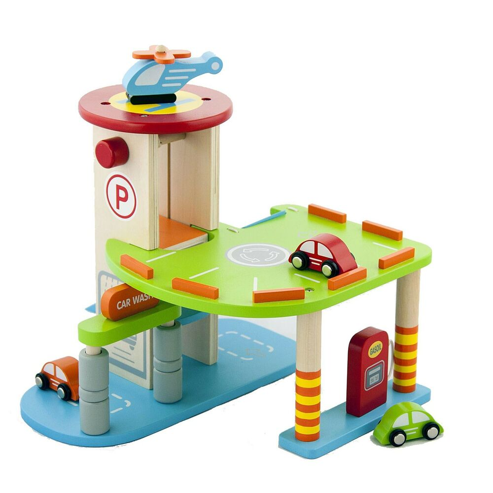 Wooden Play Toys : My first wooden toy car parking garage childrens kids wood