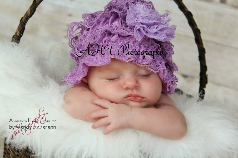 Infant Newborn Girls Baby Stretchy Lace Hat Bonnet Beanie
