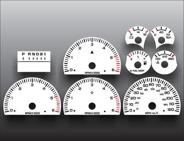 1998 2001 Dodge Ram Gas Dash Cluster White Face Gauges 98