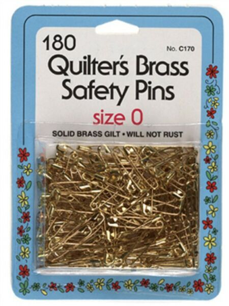 180 Quilter's Brass Safety Pins Size 0 by Collins C-170,Will not rust or tarnish