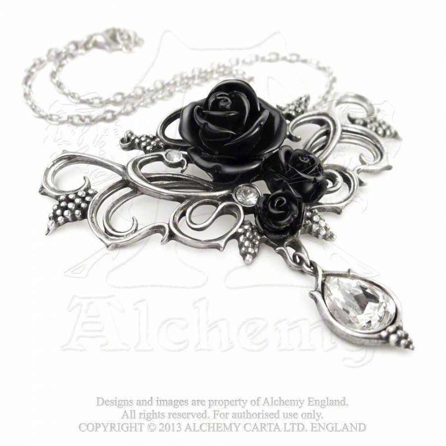 gothic anh nger schwarze rosen black roses rose collier alchemy p700 ebay. Black Bedroom Furniture Sets. Home Design Ideas