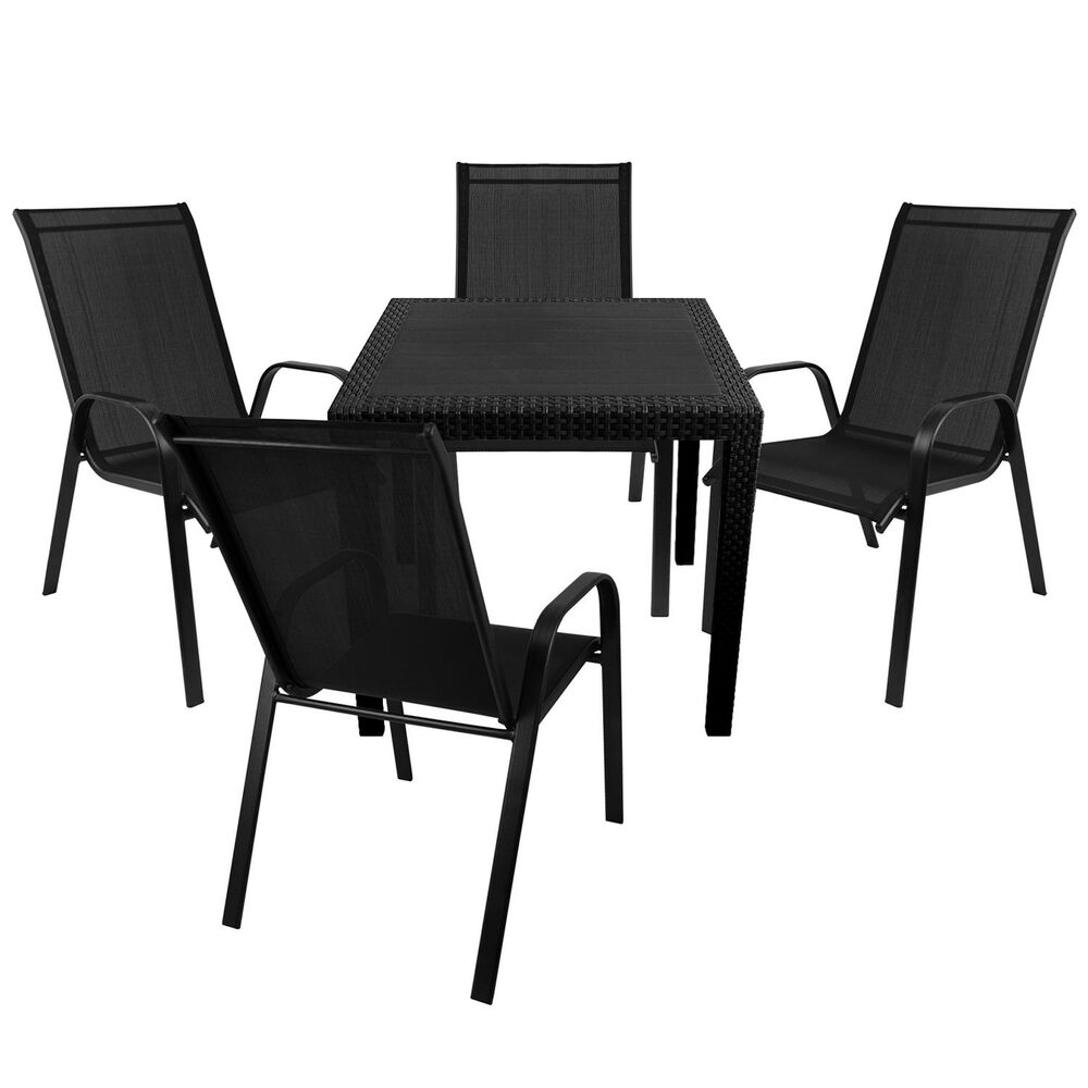 gartengarnitur gartentisch rattan optik 79x79cm 4x. Black Bedroom Furniture Sets. Home Design Ideas