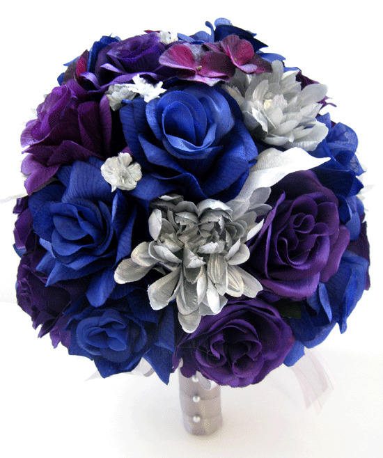 17 Piece Wedding Bouquet Silk Flower Bridal ROYAL BLUE