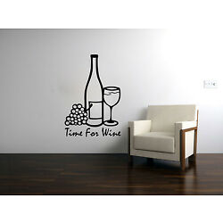 Time for Wine Vinyl Sticker Decal Wine Bottle w/Grapes and Wine Glass Quote