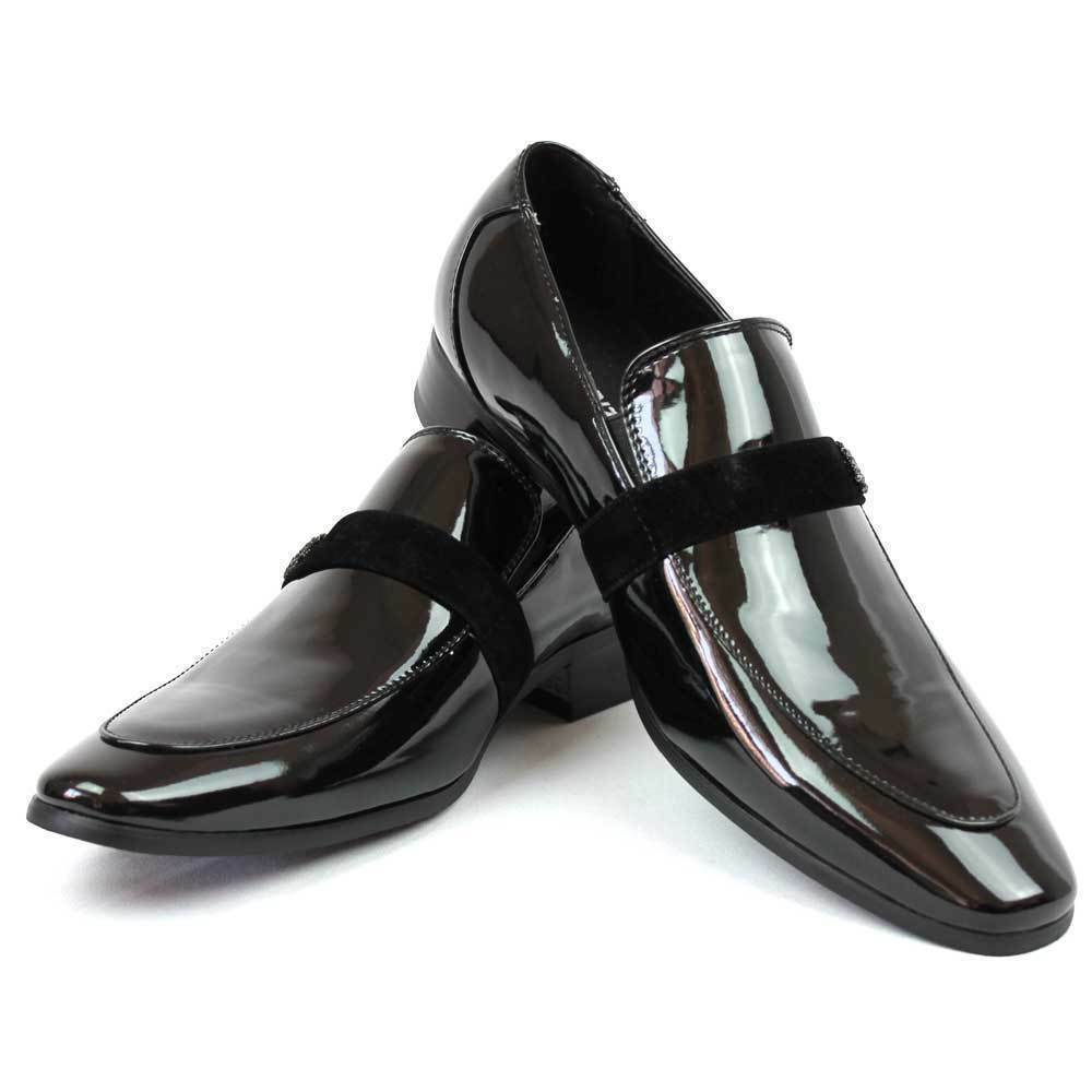new mens black loafers formal tuxedo shoes suit slip on