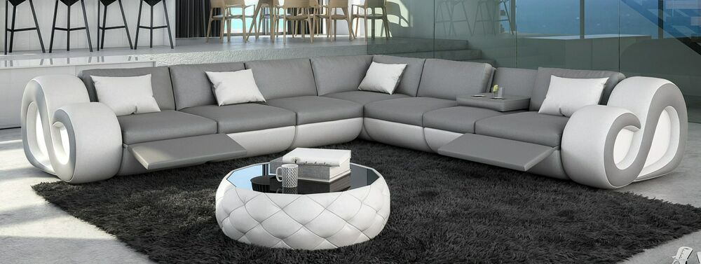 ledersofa eckcouch nesta l form xxl led beleuchtung designersofa design couch ebay. Black Bedroom Furniture Sets. Home Design Ideas