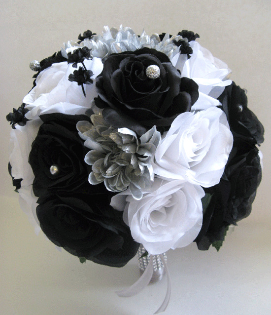 17 piece Wedding Bouquet Silk Flower Bridal WHITE BLACK ...