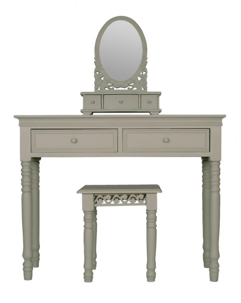 Dressing Table With Mirror And Stool: FRENCH GREY Belgravia Style DRESSING TABLE MIRROR + STOOL