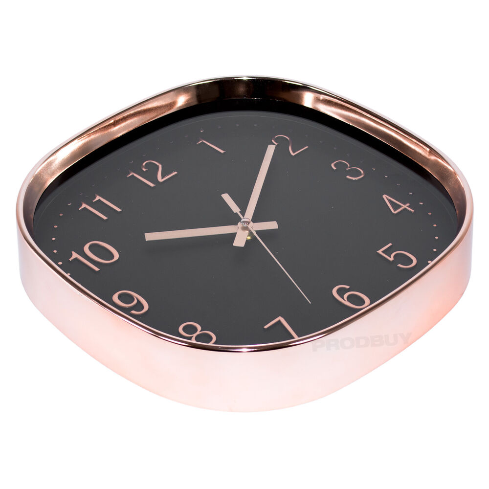 16 Rose Gold And Copper Details For Stylish Interior Decor: 38cm Square Copper Rose Gold Black Wall Clock Large