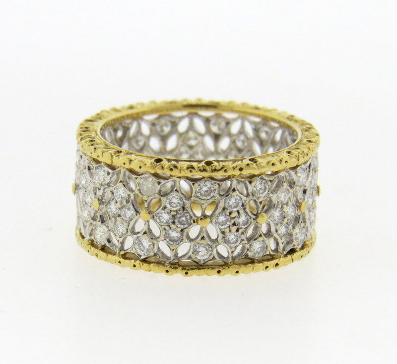 Buccellati 18k Gold Openwork Wide Wedding Band Diamond Ring