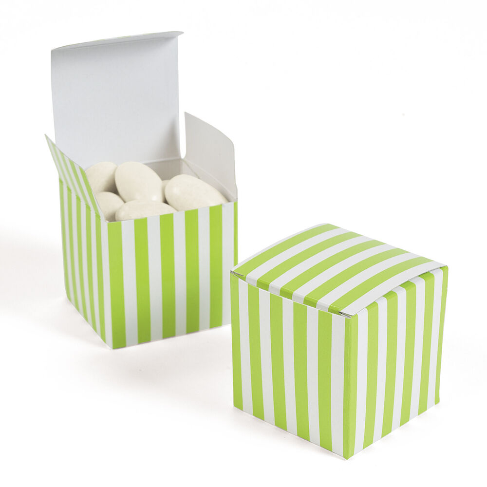 Black Treat Favor Boxes : Lime green white striped treat boxes quot candy buffet