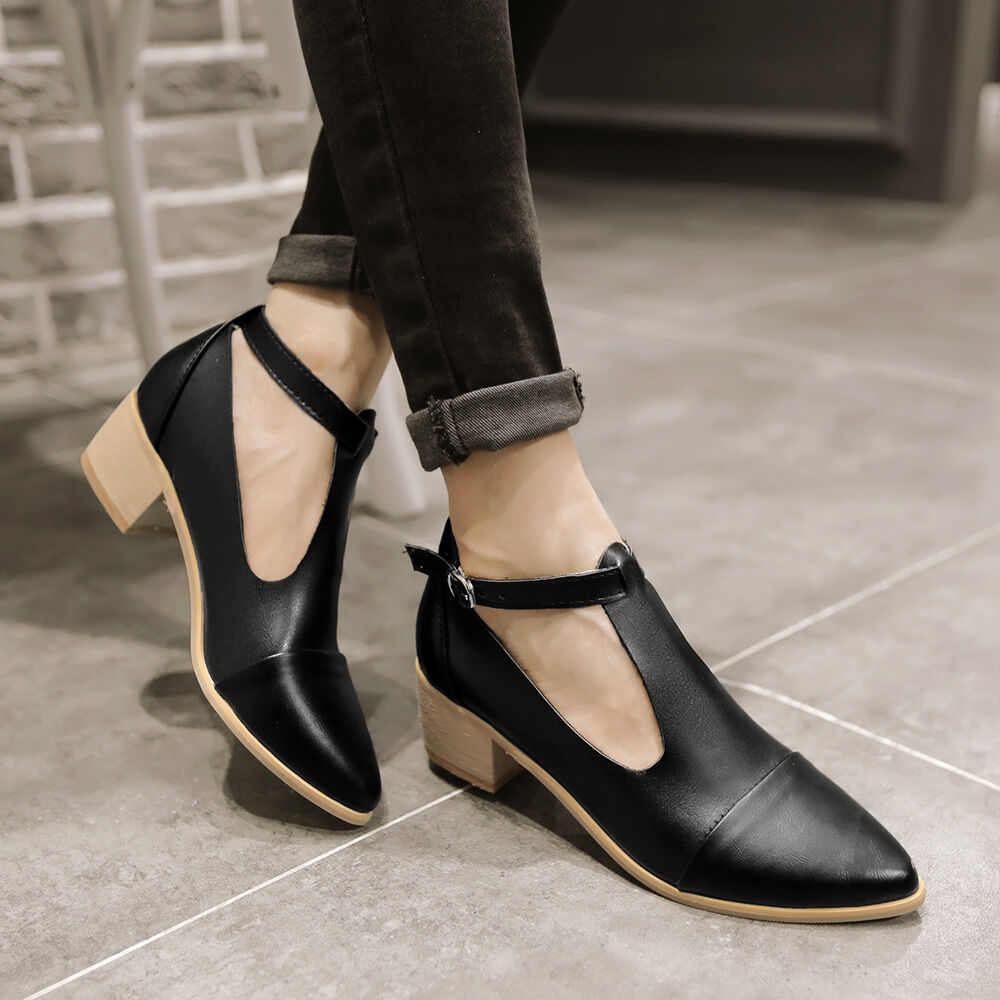 Mid Heel T Strap Shoes