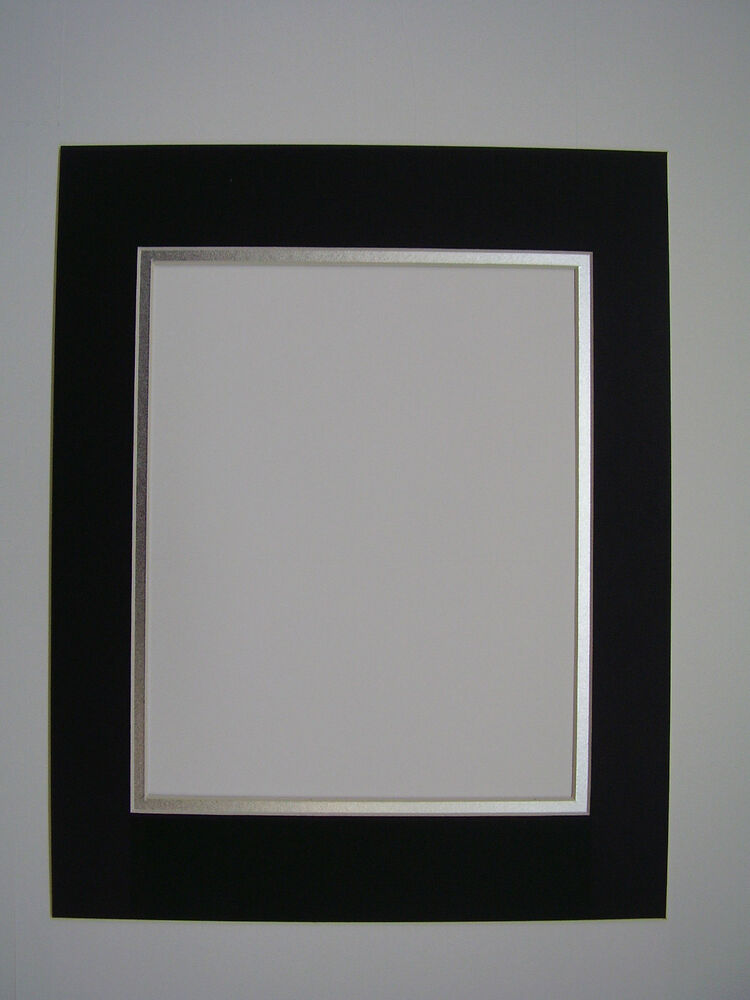 Picture Frame Double Mat 11x14 For 8x12 Photo Black With