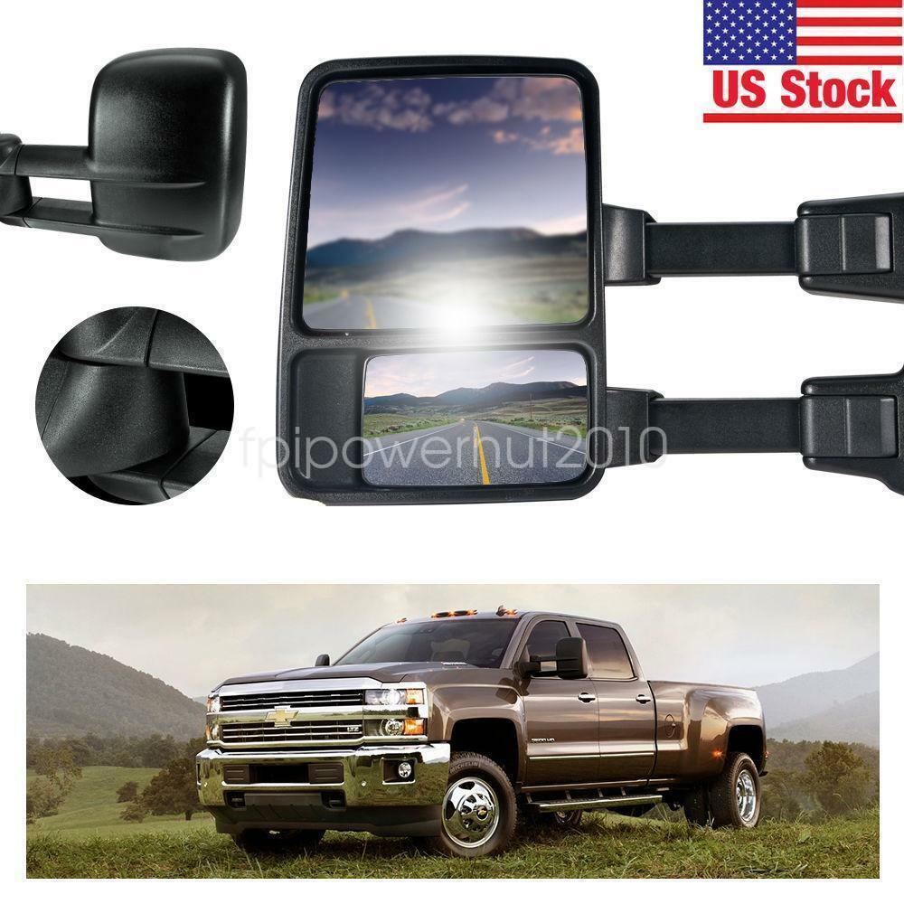 pair manual towing mirrors for 99 06 gmc chevy pickup telescoping 1500 2500 ebay. Black Bedroom Furniture Sets. Home Design Ideas