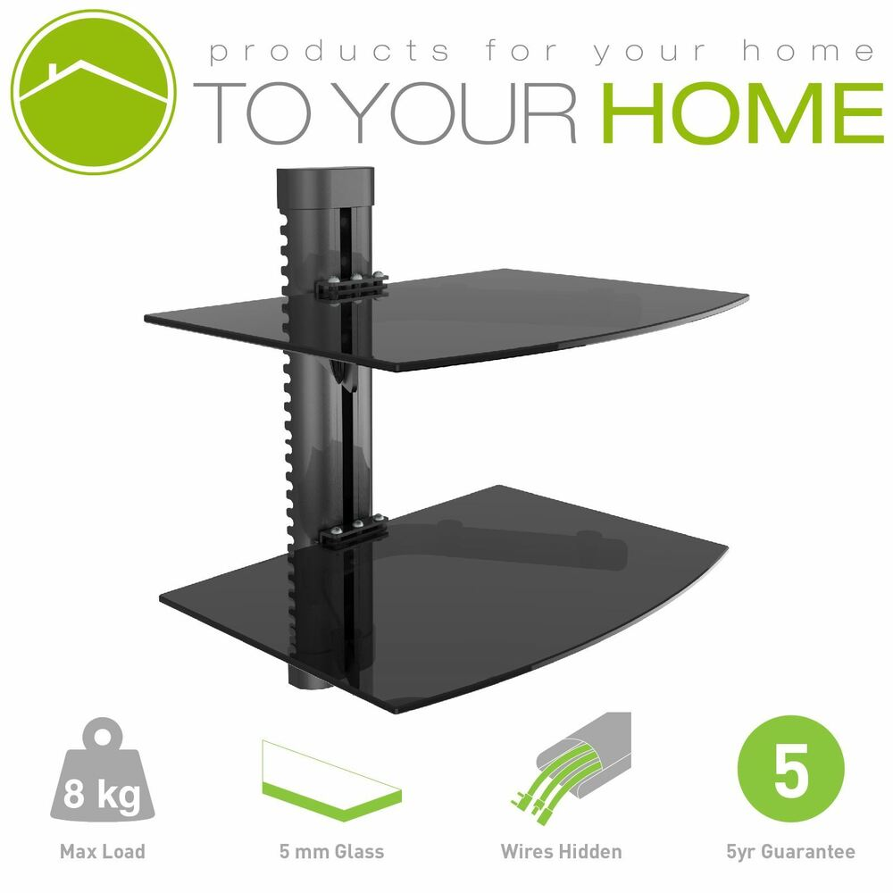 Details About Black Double Twin Two Floating Gl Shelves Wall Mount Bracket Stand Dvd Sky