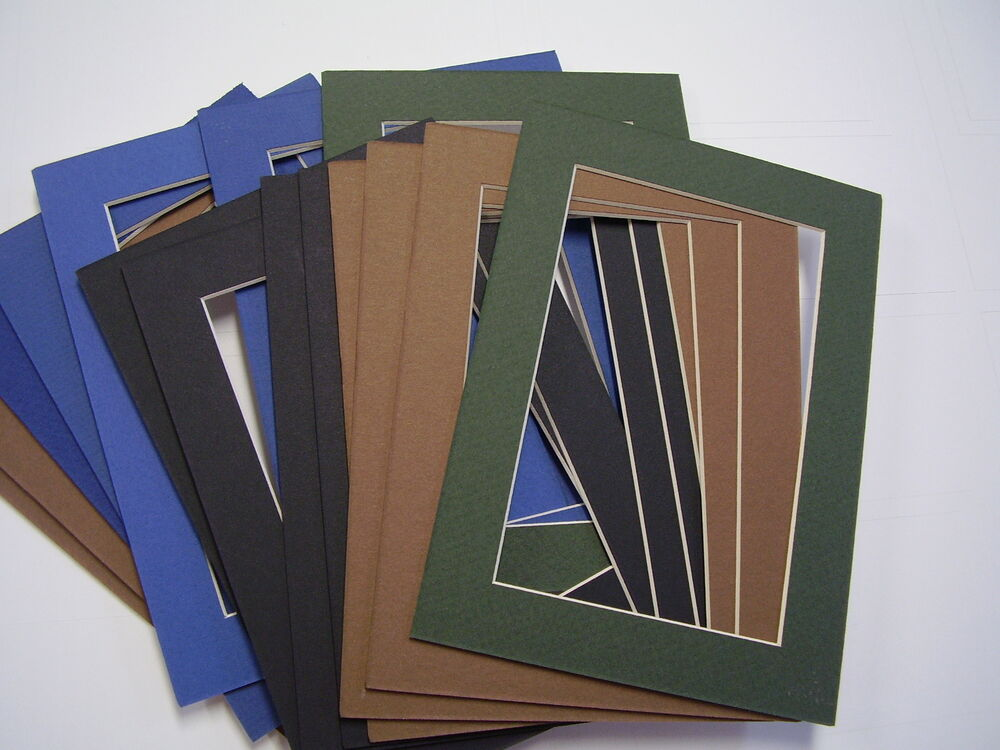 picture frame mat 5x7 for postcard 3 3 8 x 5 3 8 muted colors set of 12 ebay. Black Bedroom Furniture Sets. Home Design Ideas