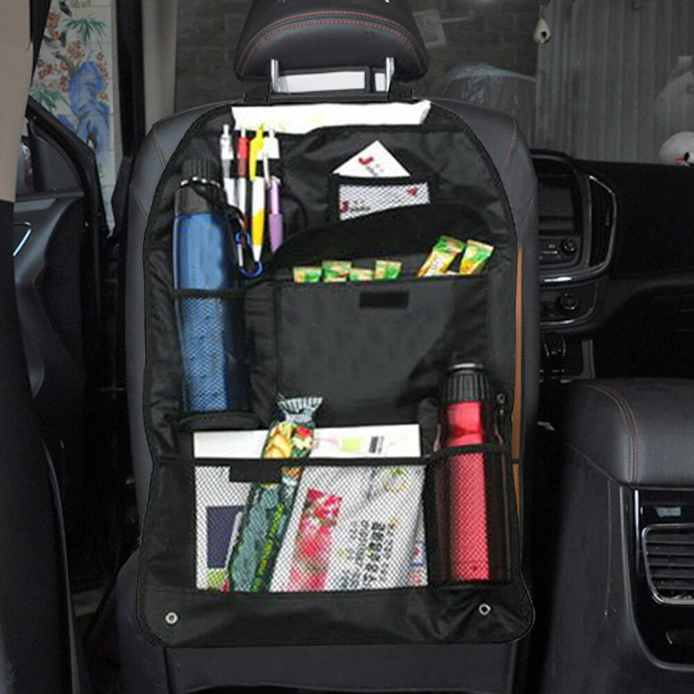 car auto back seat organizer holder multi pocket travel hanger storage bag black ebay. Black Bedroom Furniture Sets. Home Design Ideas