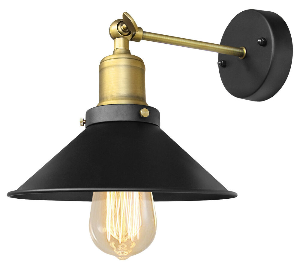 Contemporary Vintage Wall Lights : Modern Vintage Industrial Antique Brass Black Scone Wall Light Lamp Shade WD025 eBay