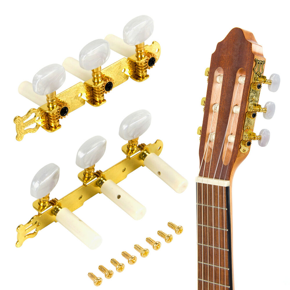 classical acoustic guitar string tuning pegs machine heads tuners keys gold ebay. Black Bedroom Furniture Sets. Home Design Ideas