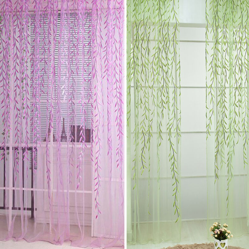 Sheer room leaf pattern balcony voile panel drapes door for Patterned sheer curtain panels