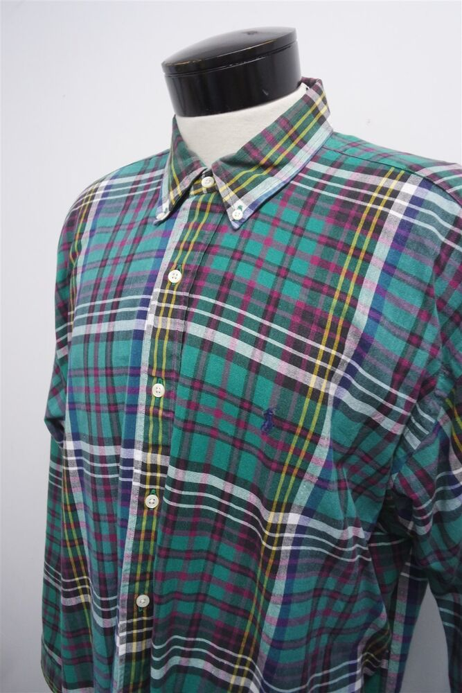 Polo ralph lauren green teal blue red plaid casual dress for Teal mens dress shirt