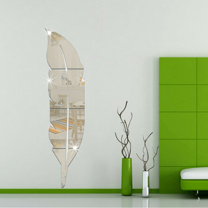 ... Mirror Feather Wall Stickers Decal Art Vinyl Room Decor Gift : eBay