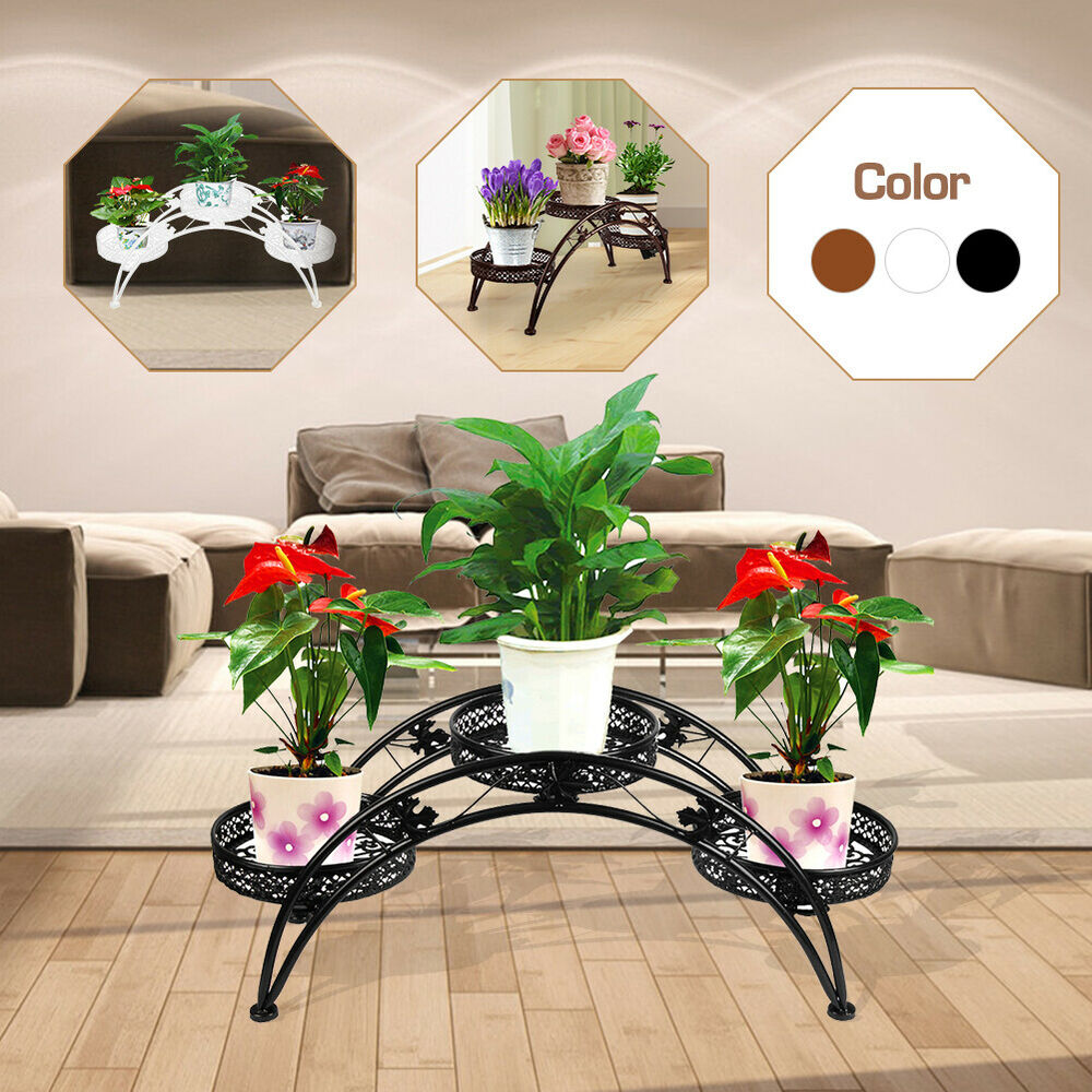 Wrought iron pot plant stand for three plants indoor or for Patio accessories and decor