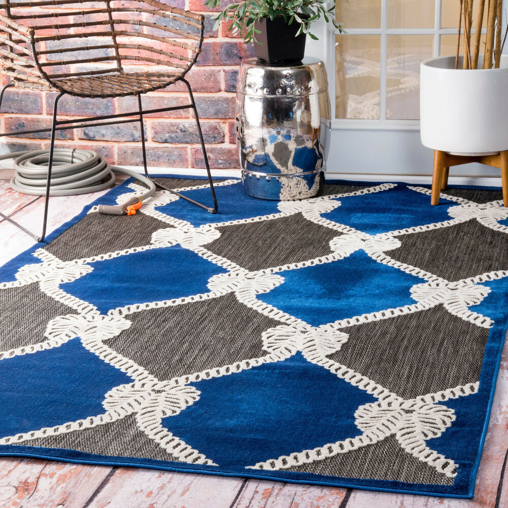 Nuloom Indoor Outdoor Nautical Ropes Porch Blue Rug 5 X