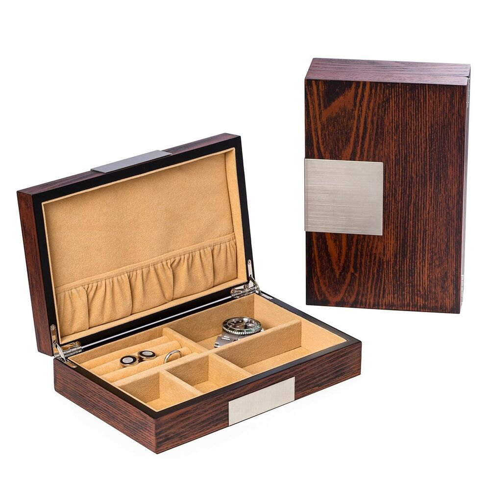 Mens gifts lacquered wood valet box natural wood for Men s valet box