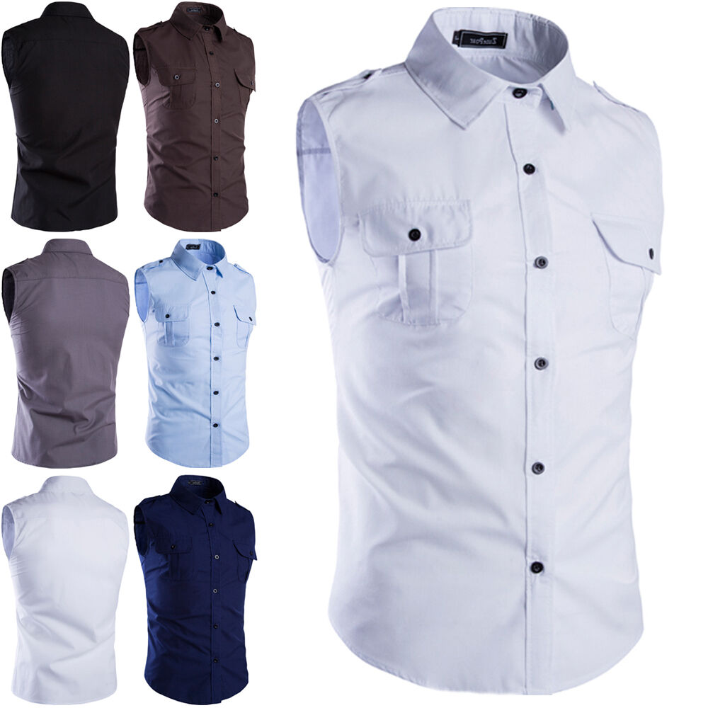 Men 39 s casual stylish sleeveless t shirt slim fit chest for Button down t shirts