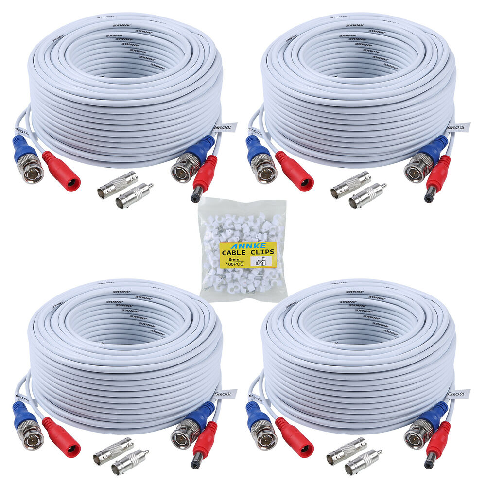 Annke 4x 100ft White Video Power Cable Bnc Rca Wire For