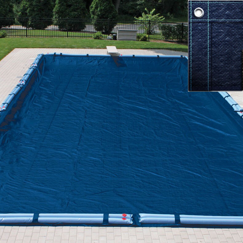 20x40 Navy Blue Rectangle In Ground Swimming Pool Winter