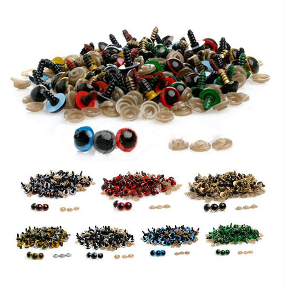 100pcs 10-18mm 8 Color Plastic Safety Eyes for Bear Doll Puppet Plush Animal Toy
