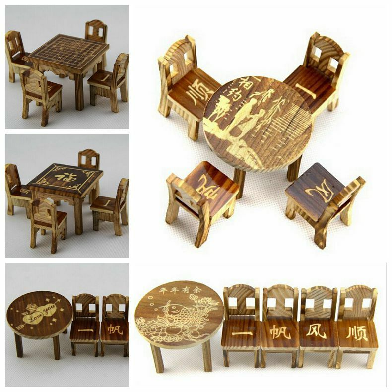 Dollhouse Miniature Furniture Wooden Mini Dining Room Table 4 Chairs Set Toy Ebay