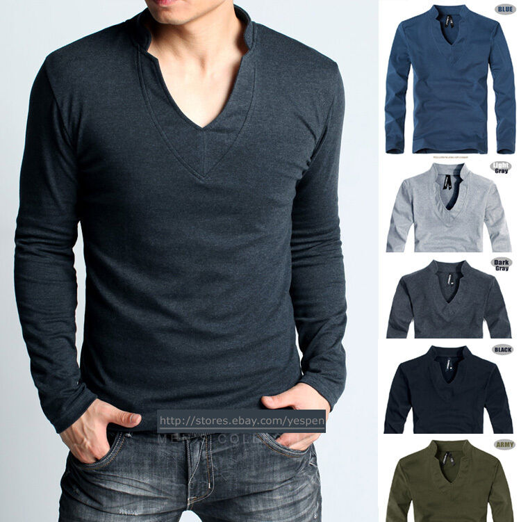 mens basic tee gym sports shirt long sleeve t shirt unique v neck fitted style ebay. Black Bedroom Furniture Sets. Home Design Ideas