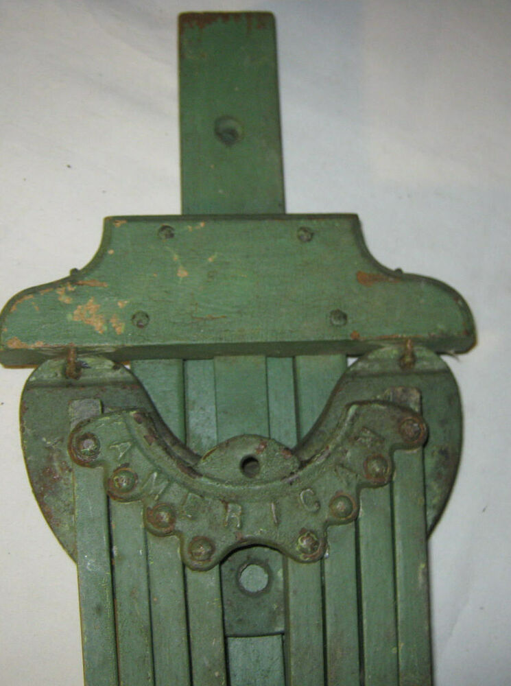 Antique American Primitive Country Wood Iron Clothes Wall