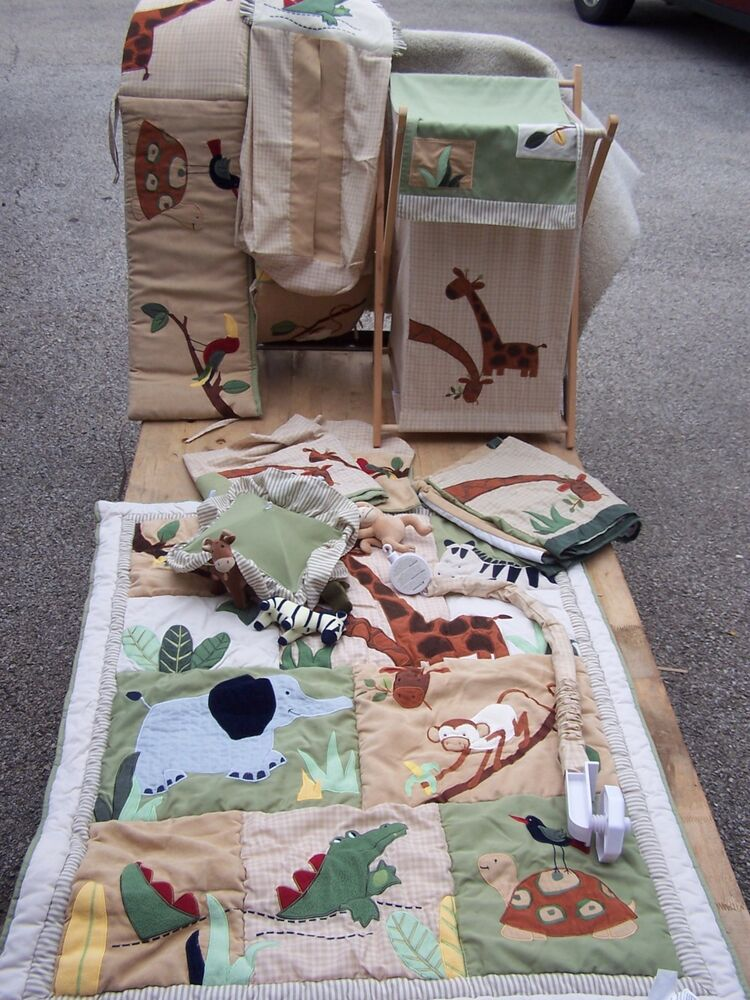 T Baby Crib Bedding Nursery Set Boy Zanzibar Jungle Zoo